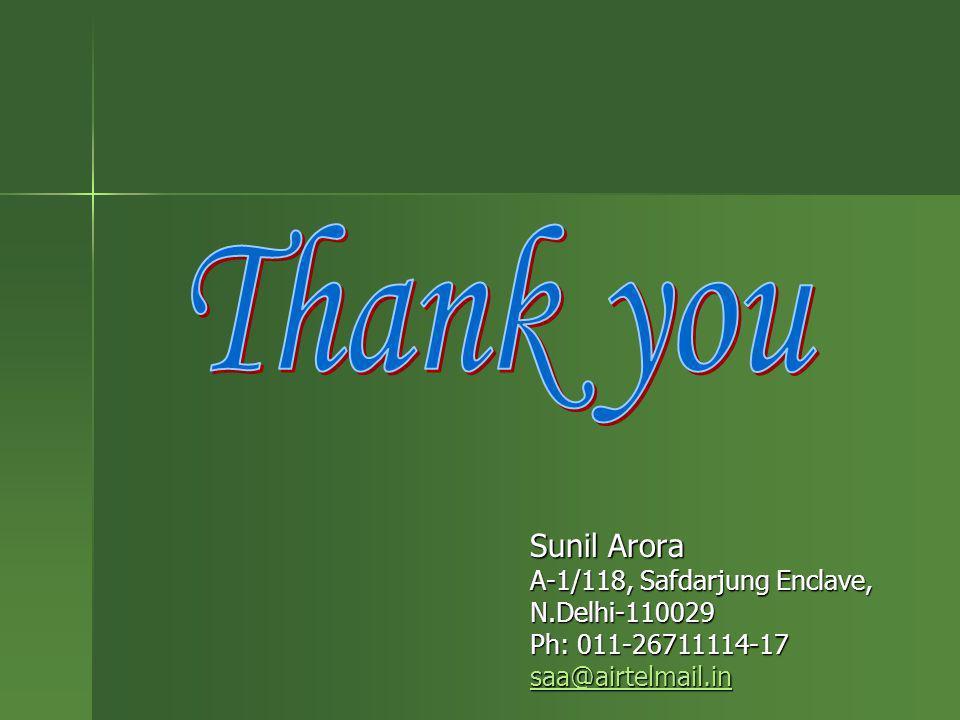 Thank you Sunil Arora A-1/118, Safdarjung Enclave, N.Delhi-110029