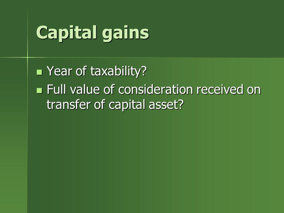Capital gains Year of taxability