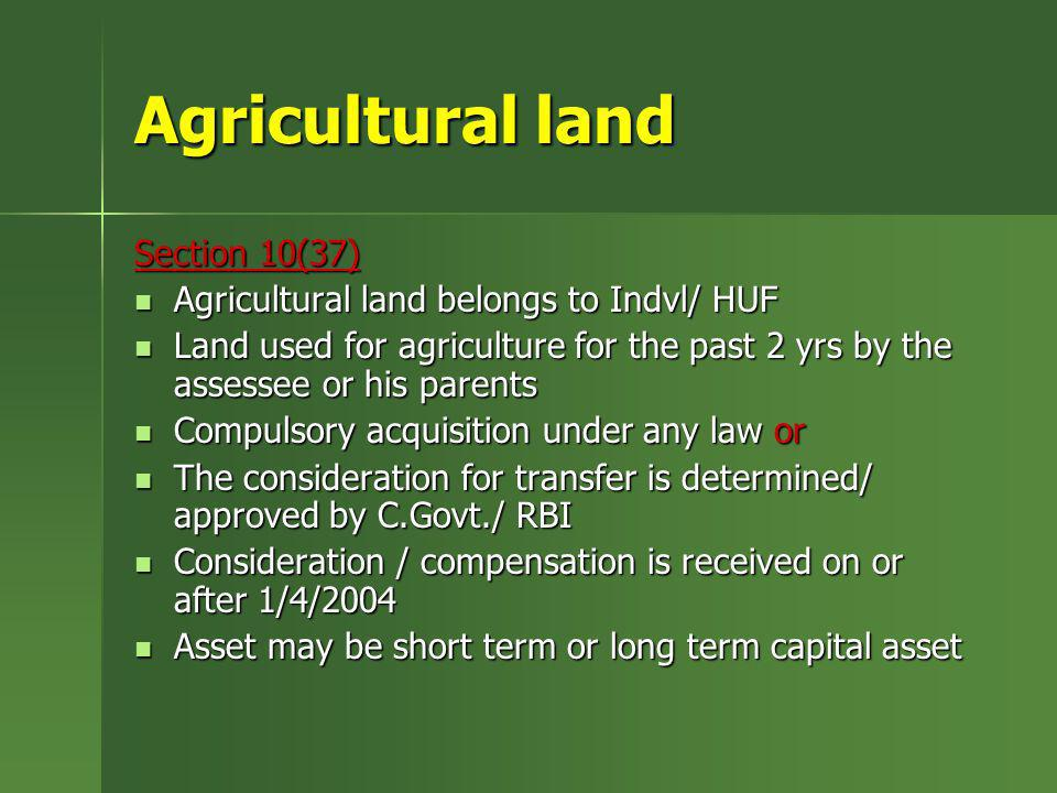 Agricultural land Section 10(37)