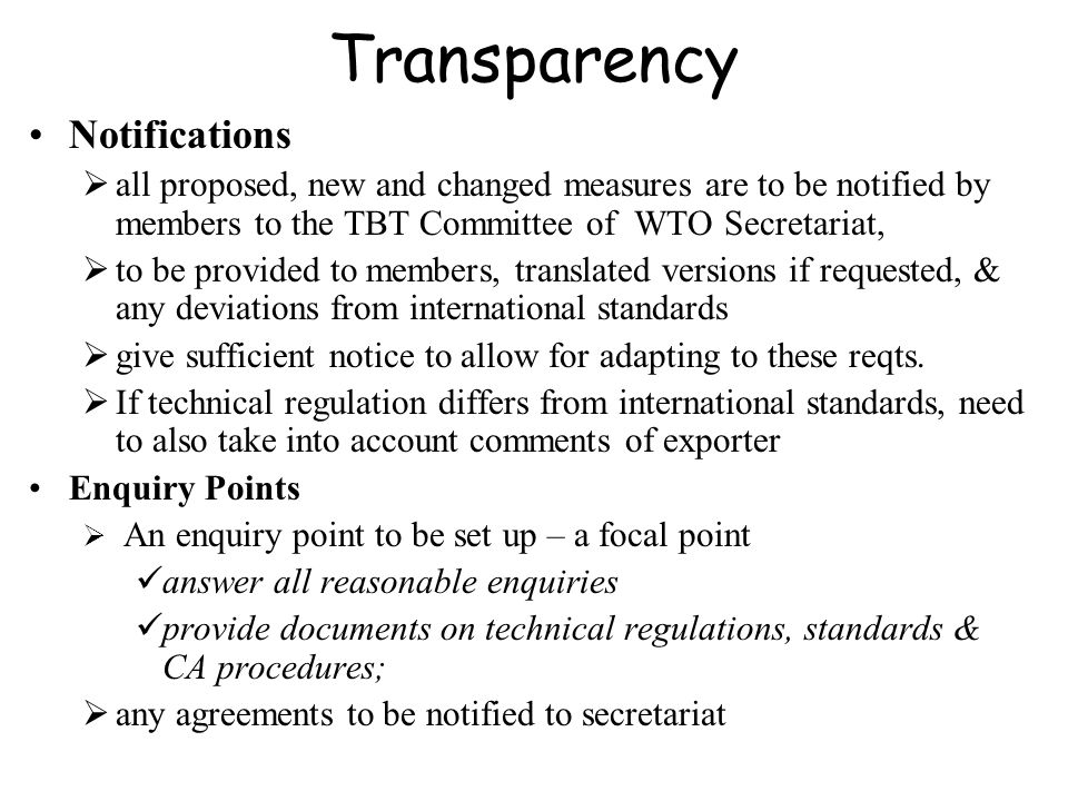 Transparency Notifications