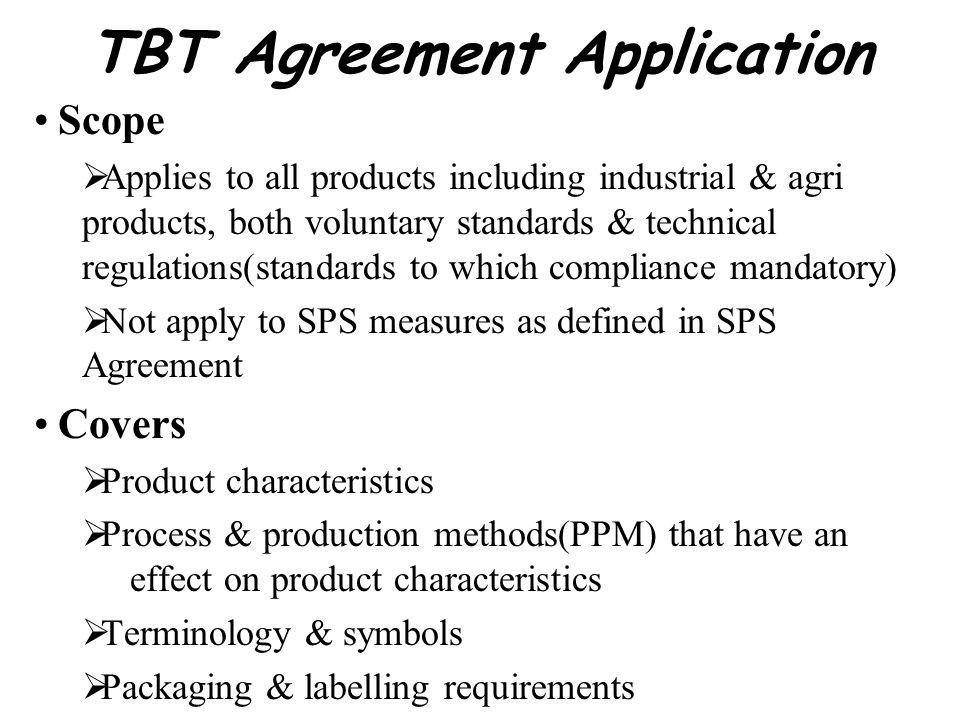 TBT Agreement Application