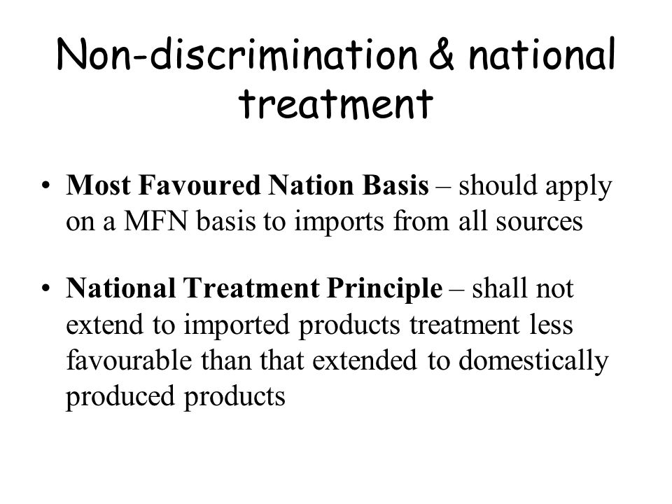 Non-discrimination & national treatment