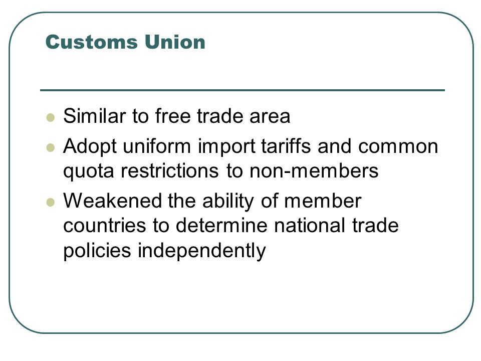 Similar to free trade area