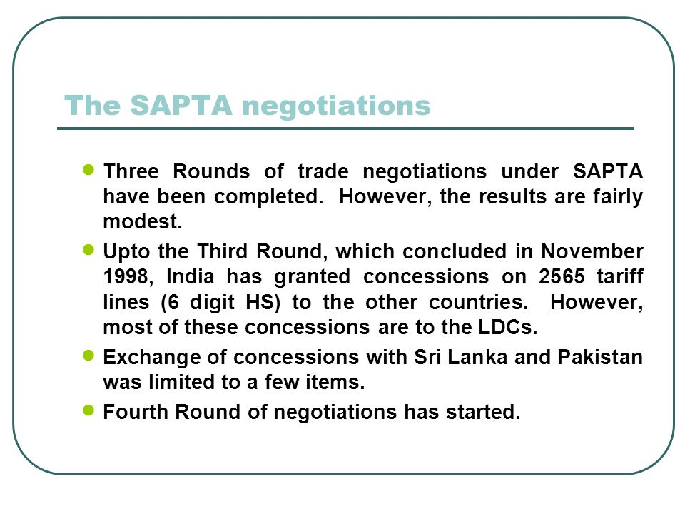The SAPTA negotiations