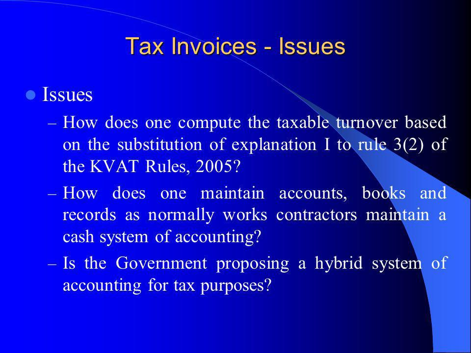 Tax Invoices - Issues Issues