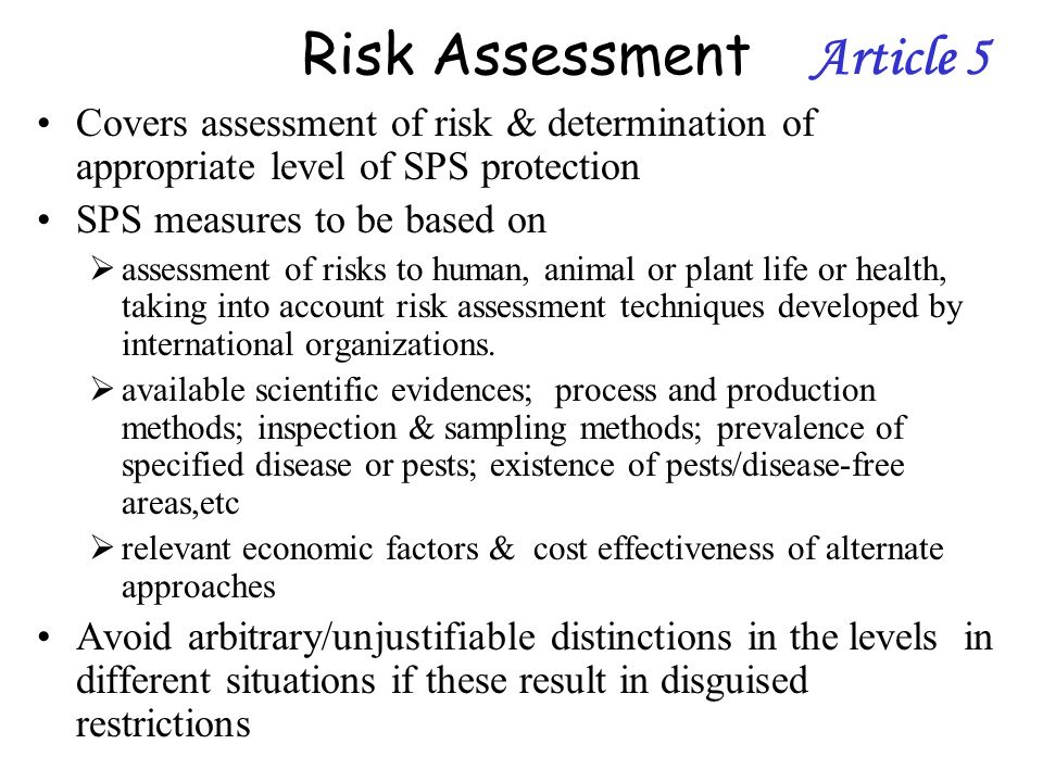 Risk Assessment Article 5