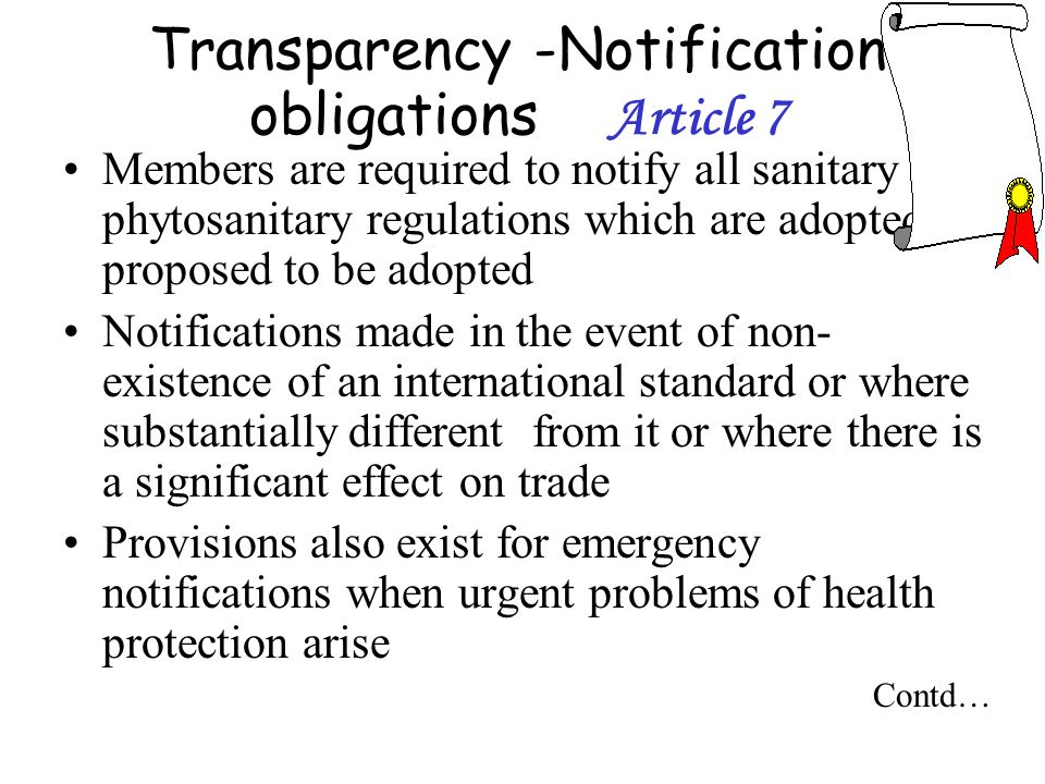 Transparency -Notification obligations Article 7
