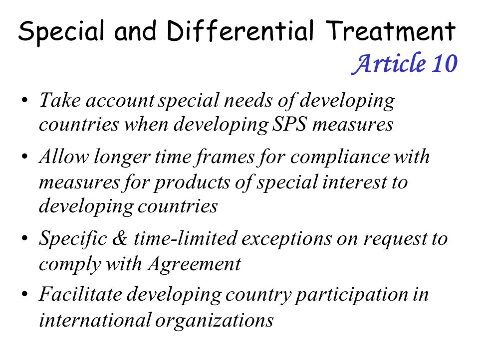 Special and Differential Treatment Article 10