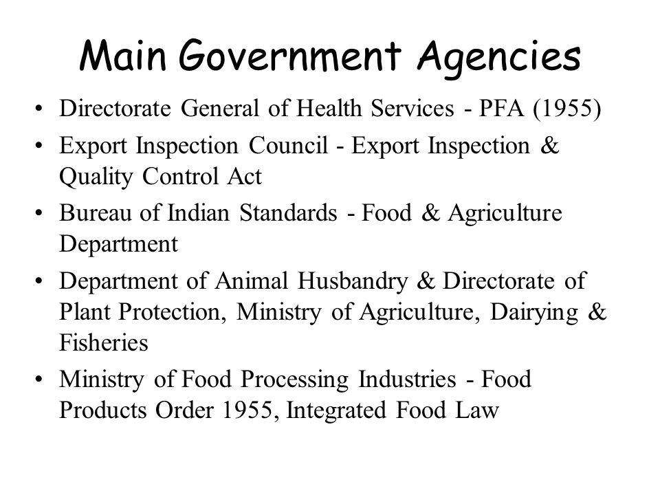 Main Government Agencies