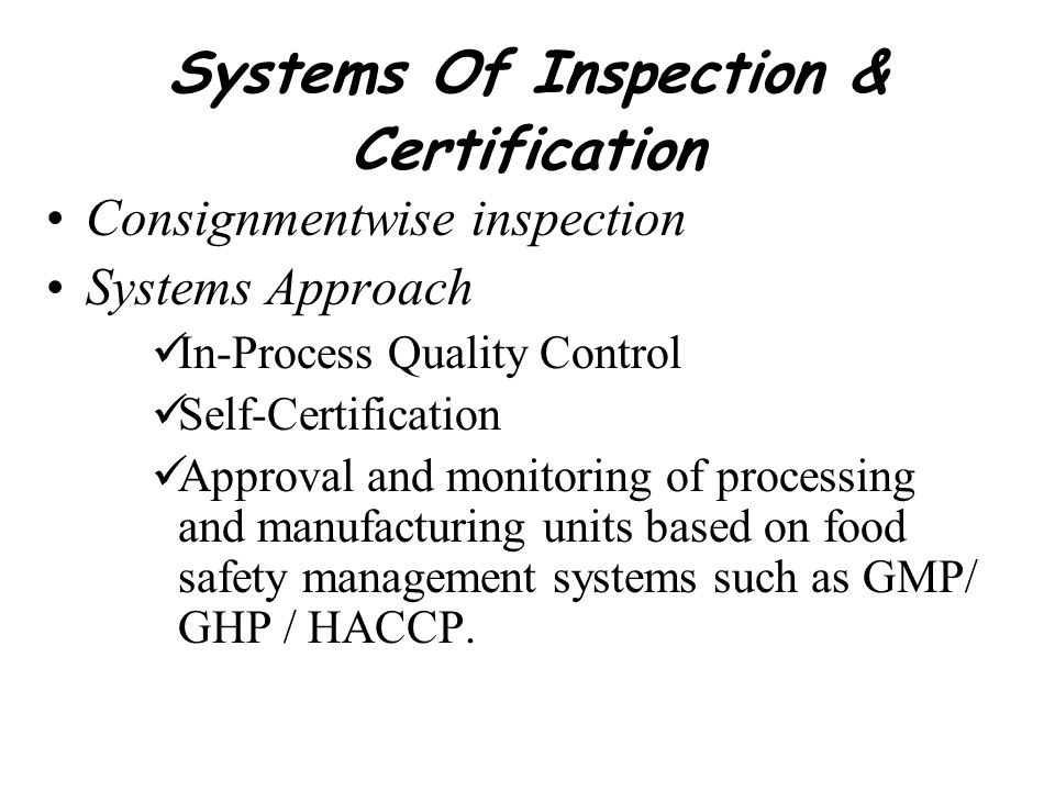 Systems Of Inspection & Certification