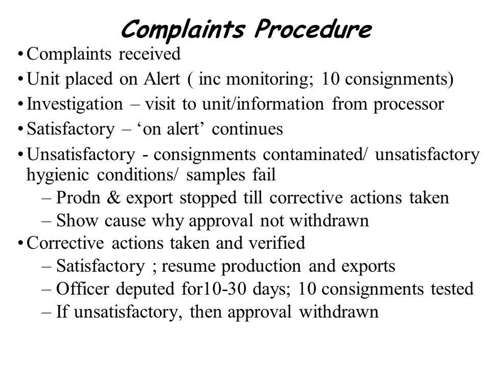 Complaints Procedure Complaints received