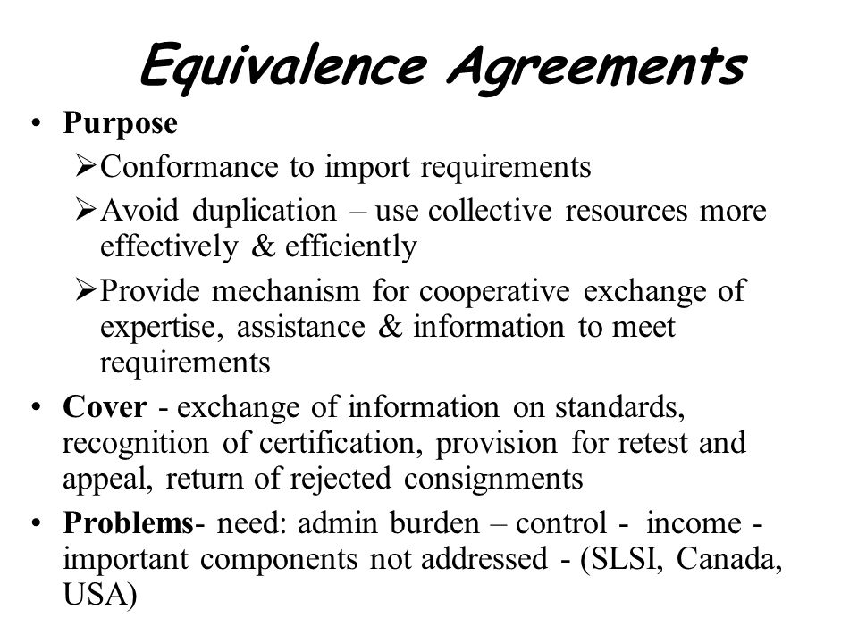 Equivalence Agreements