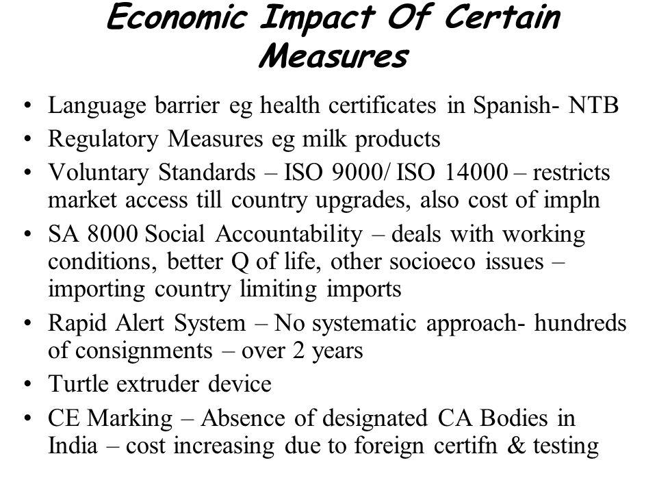 Economic Impact Of Certain Measures