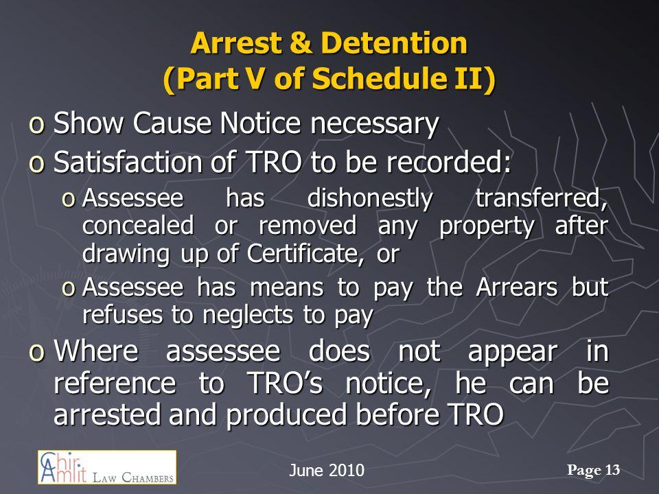 Arrest & Detention (Part V of Schedule II)