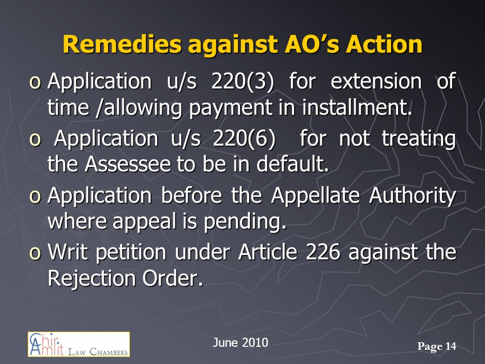 Remedies against AO's Action