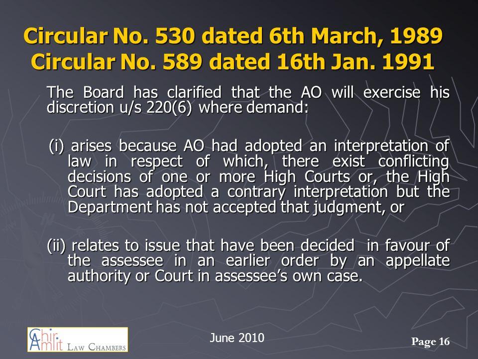 Circular No. 530 dated 6th March, 1989 Circular No. 589 dated 16th Jan