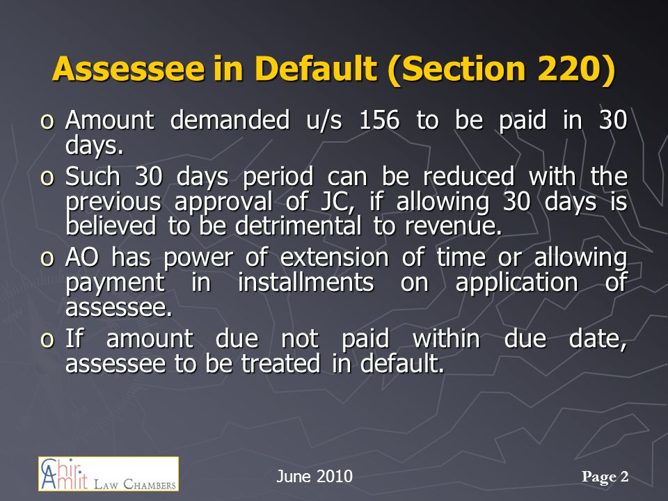 Assessee in Default (Section 220)