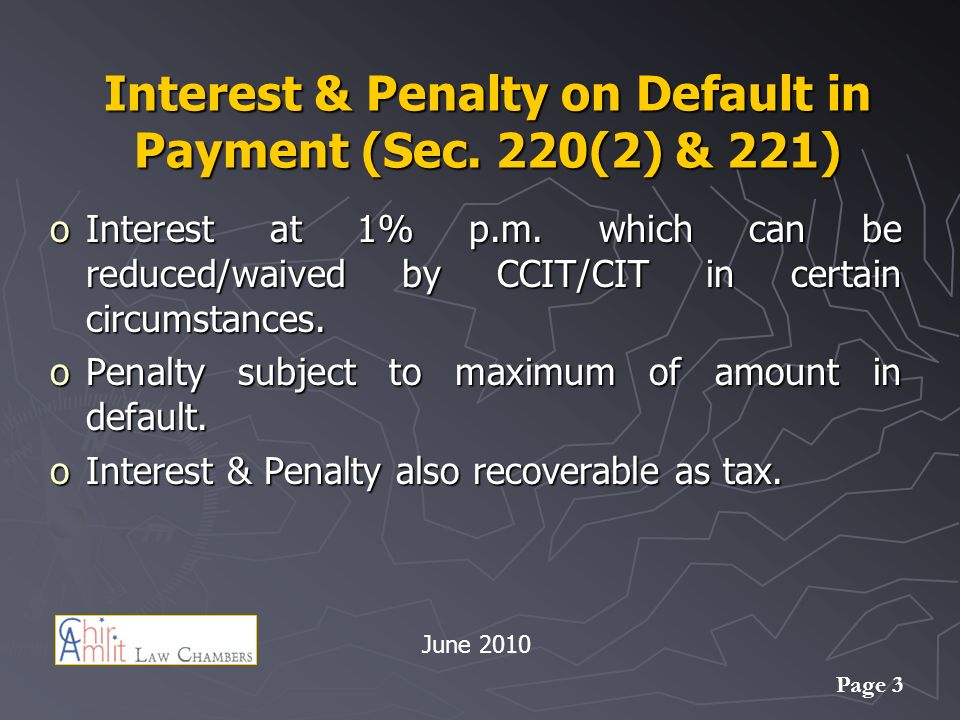 Interest & Penalty on Default in Payment (Sec. 220(2) & 221)