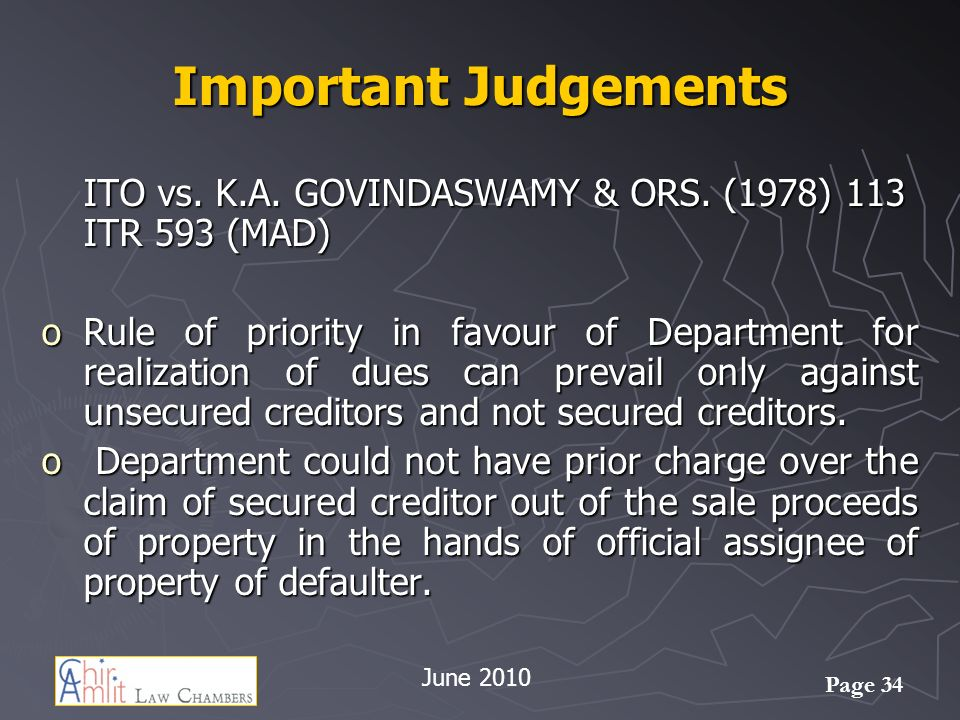 Important Judgements ITO vs. K.A. GOVINDASWAMY & ORS. (1978) 113 ITR 593 (MAD)