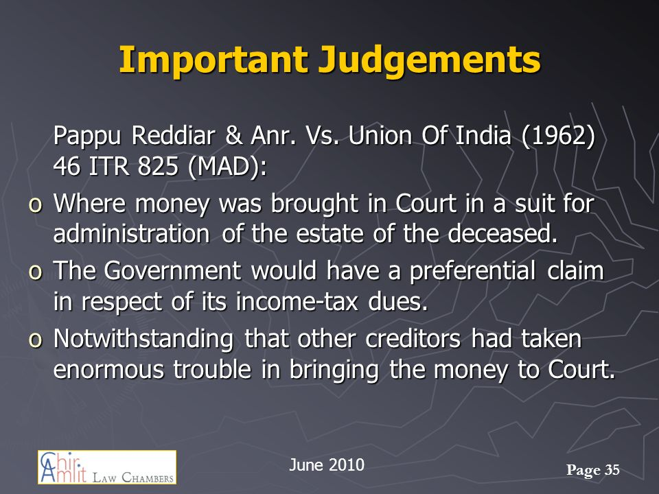 Important Judgements Pappu Reddiar & Anr. Vs. Union Of India (1962) 46 ITR 825 (MAD):