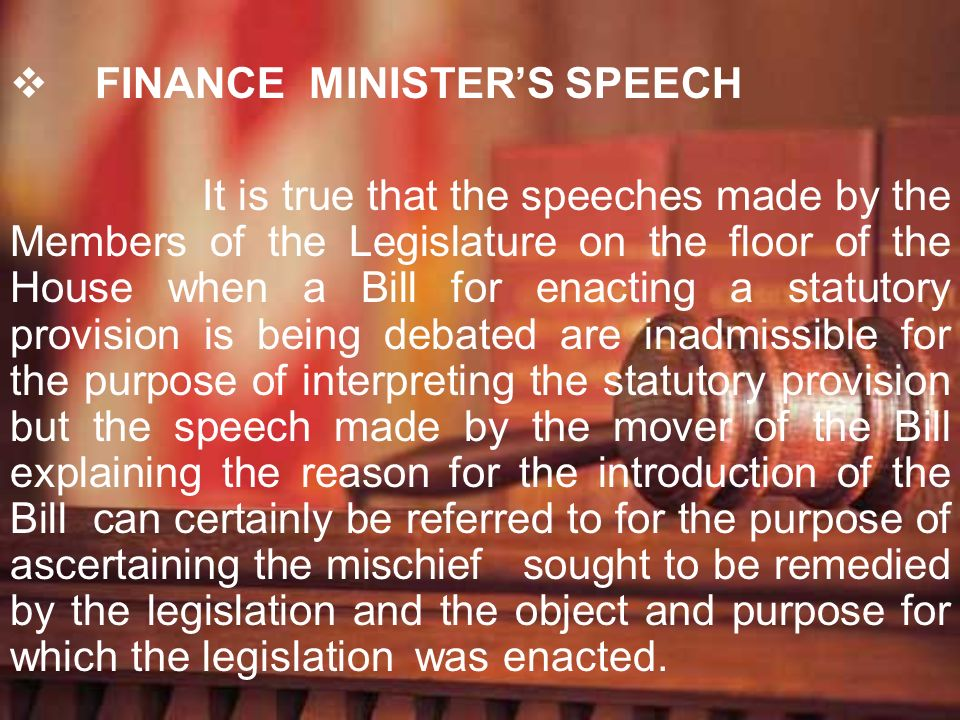 FINANCE MINISTER'S SPEECH