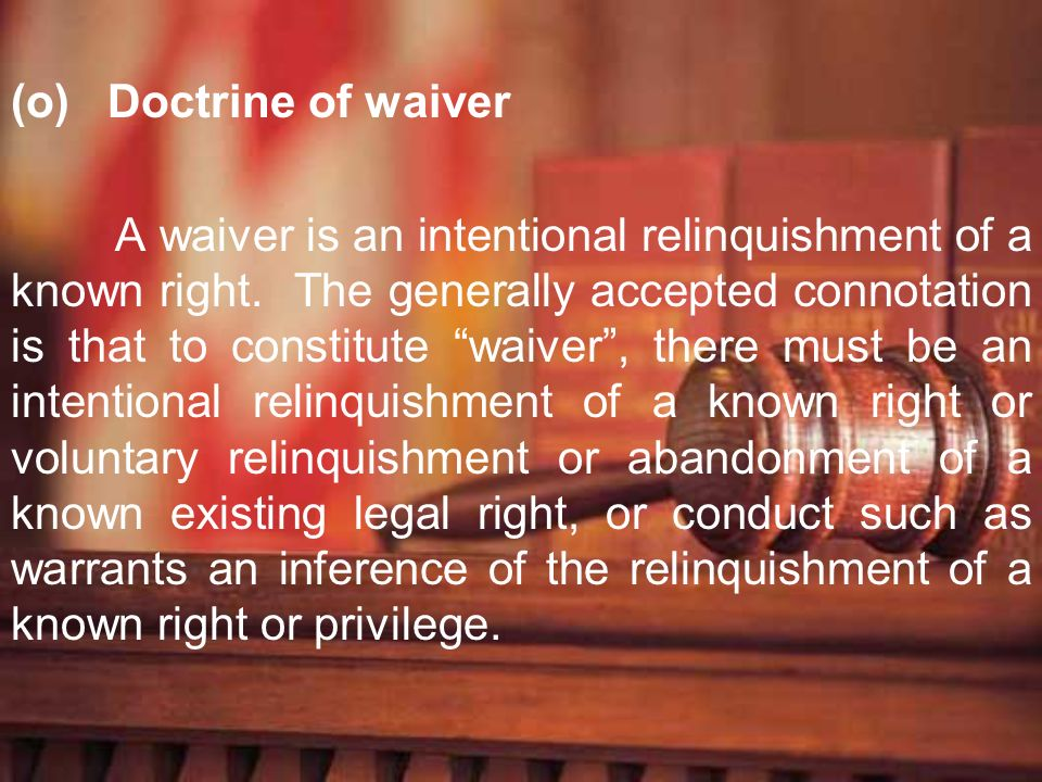 Doctrine of waiver