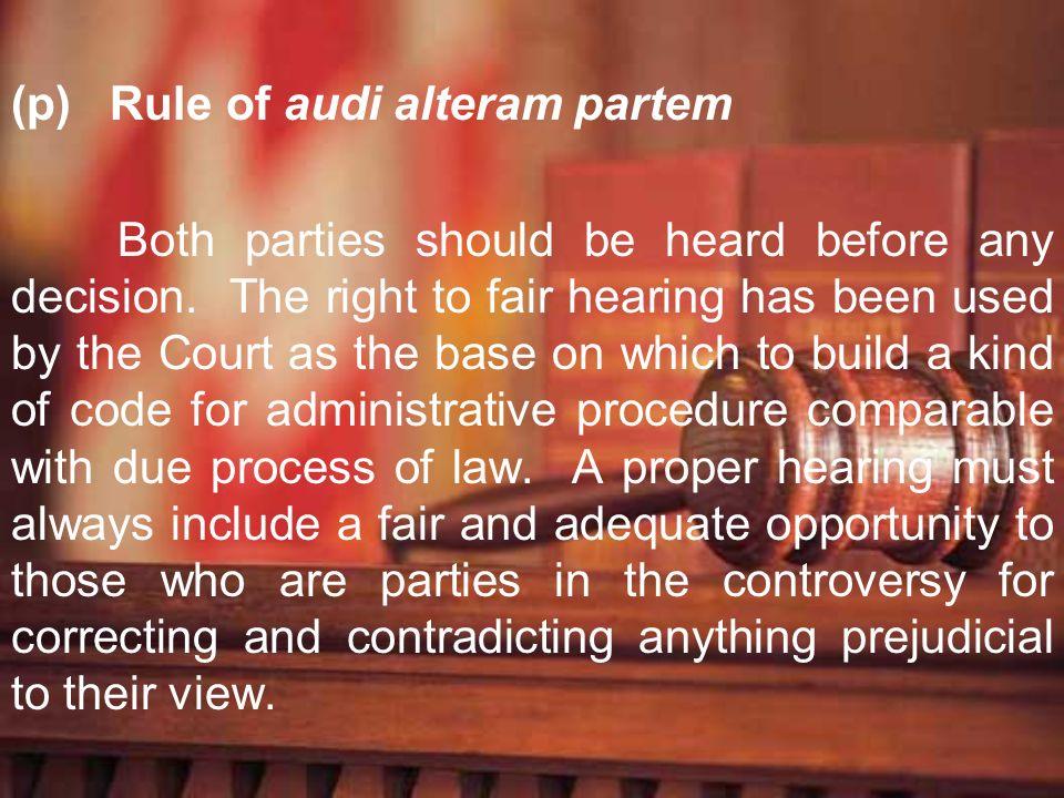 Rule of audi alteram partem