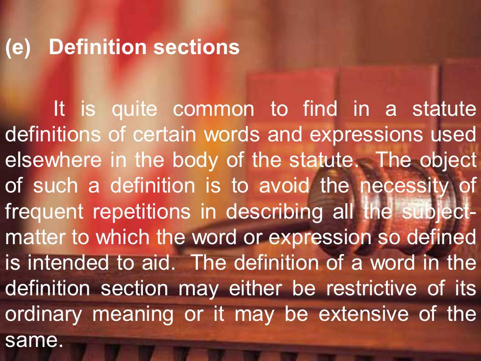Definition sections