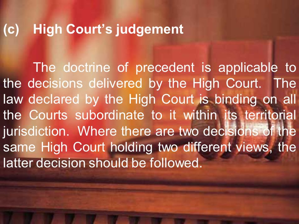 (c) High Court's judgement