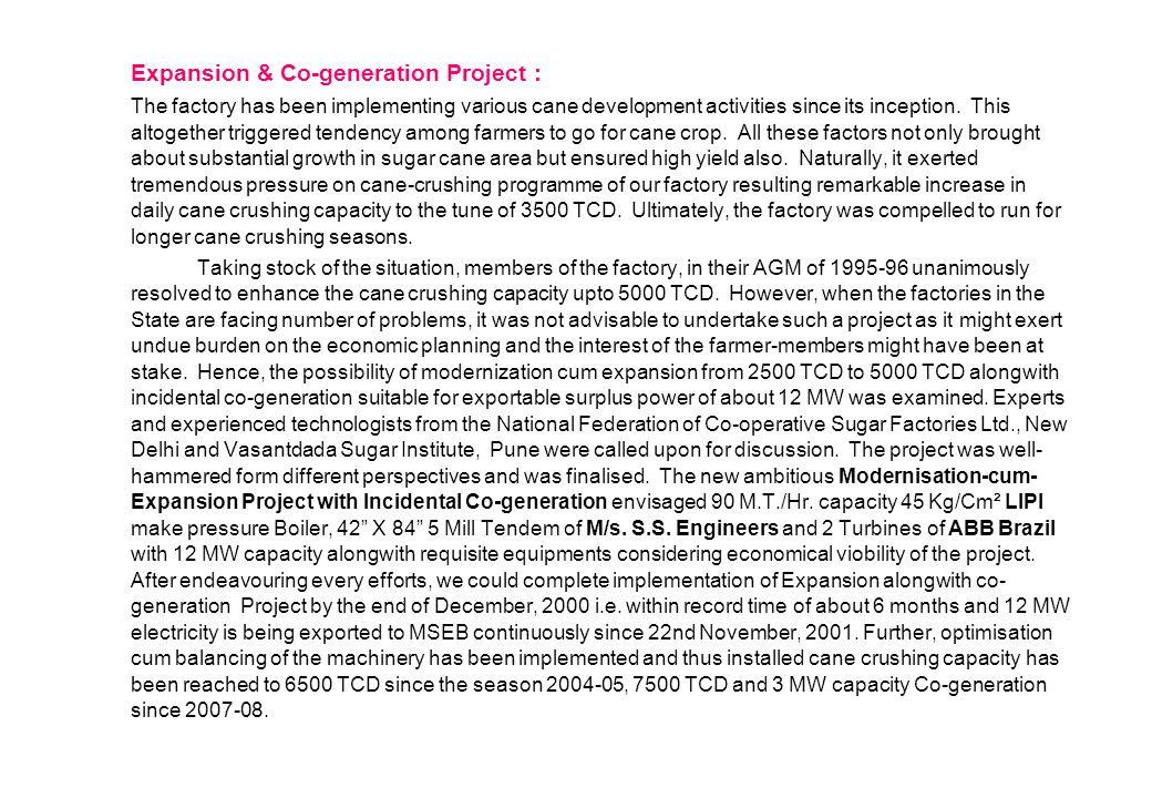 Expansion & Co-generation Project :