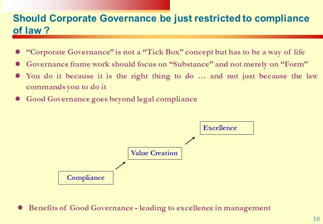 Should Corporate Governance be just restricted to compliance of law