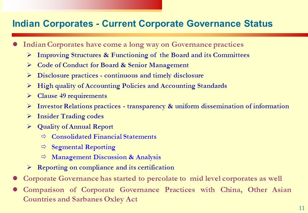 Indian Corporates - Current Corporate Governance Status