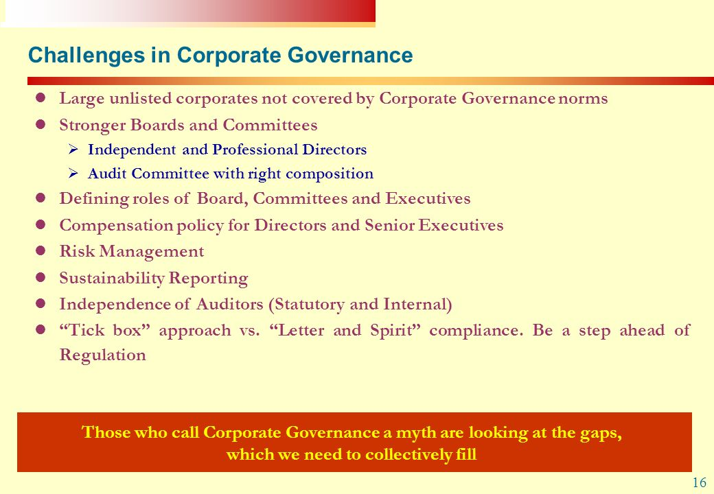 Challenges in Corporate Governance