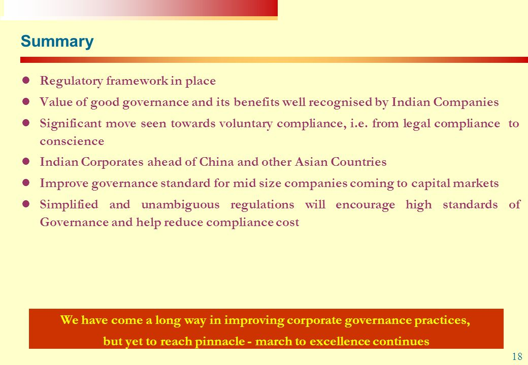 Summary Regulatory framework in place