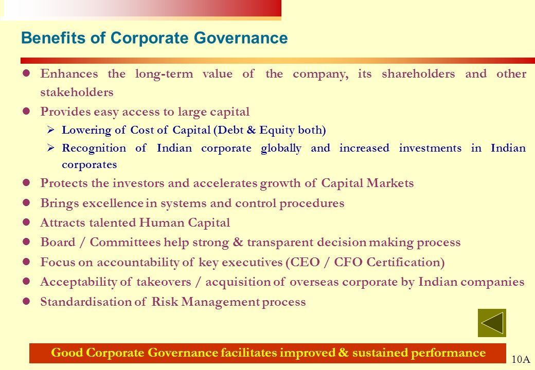 Benefits of Corporate Governance