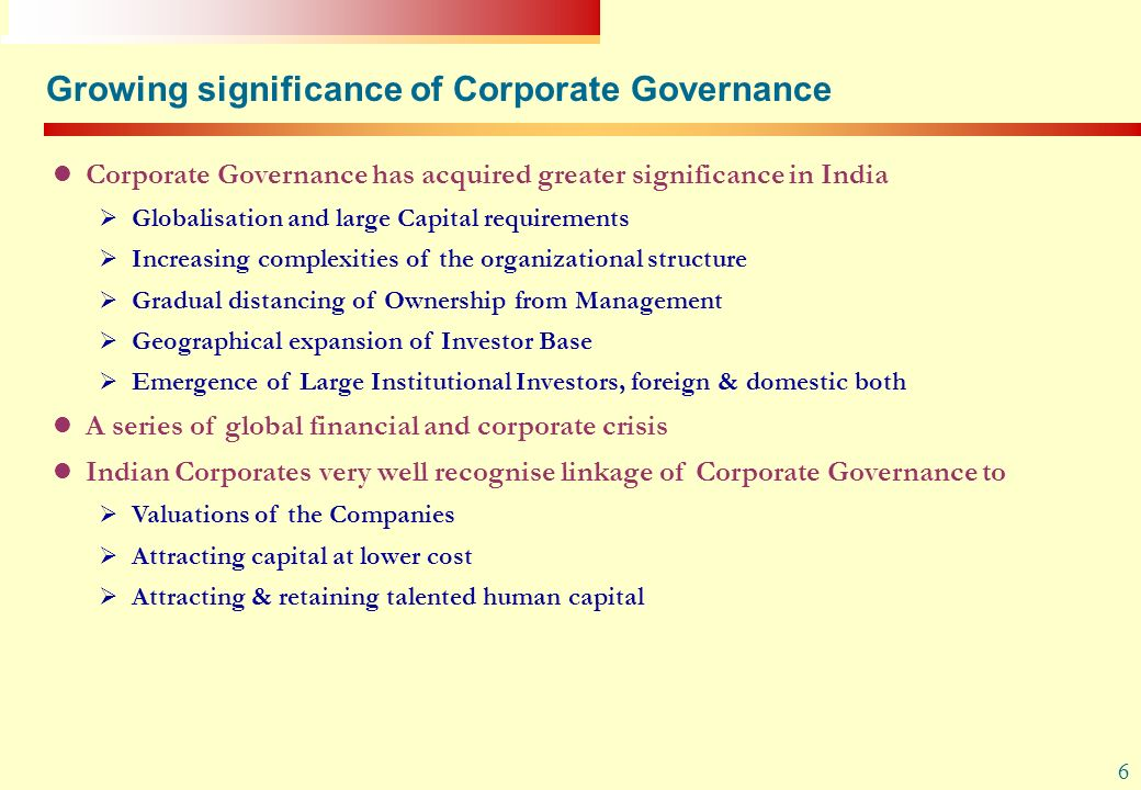 Growing significance of Corporate Governance