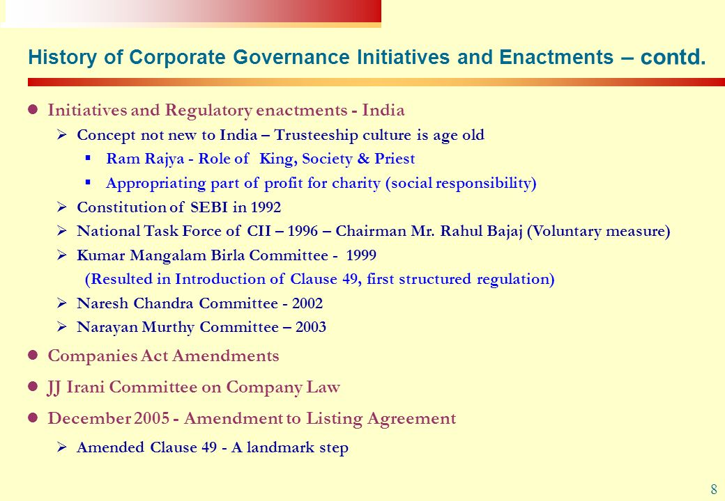 History of Corporate Governance Initiatives and Enactments – contd.