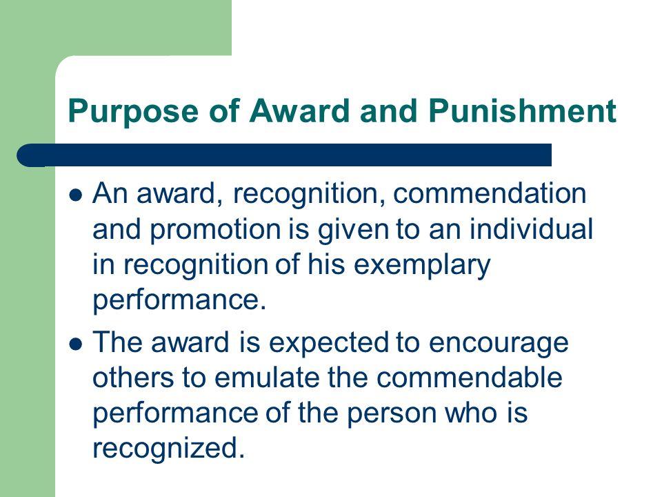 Purpose of Award and Punishment