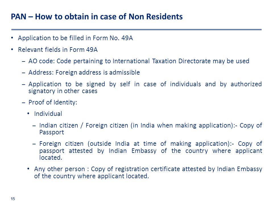 PAN – How to obtain in case of Non Residents