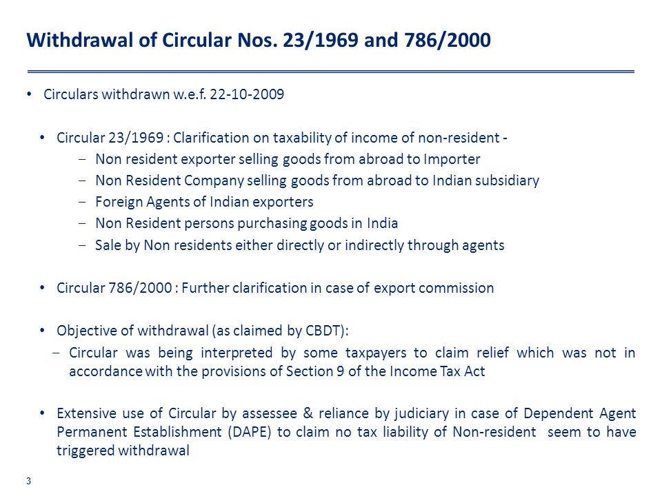 Withdrawal of Circular Nos. 23/1969 and 786/2000