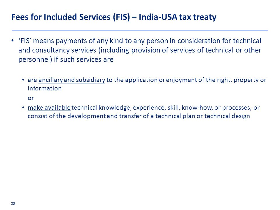 Fees for Included Services (FIS) – India-USA tax treaty