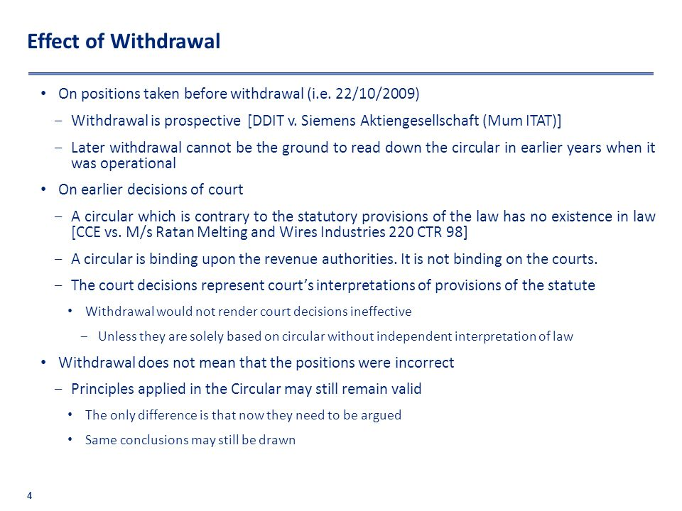 Effect of Withdrawal On positions taken before withdrawal (i.e. 22/10/2009)