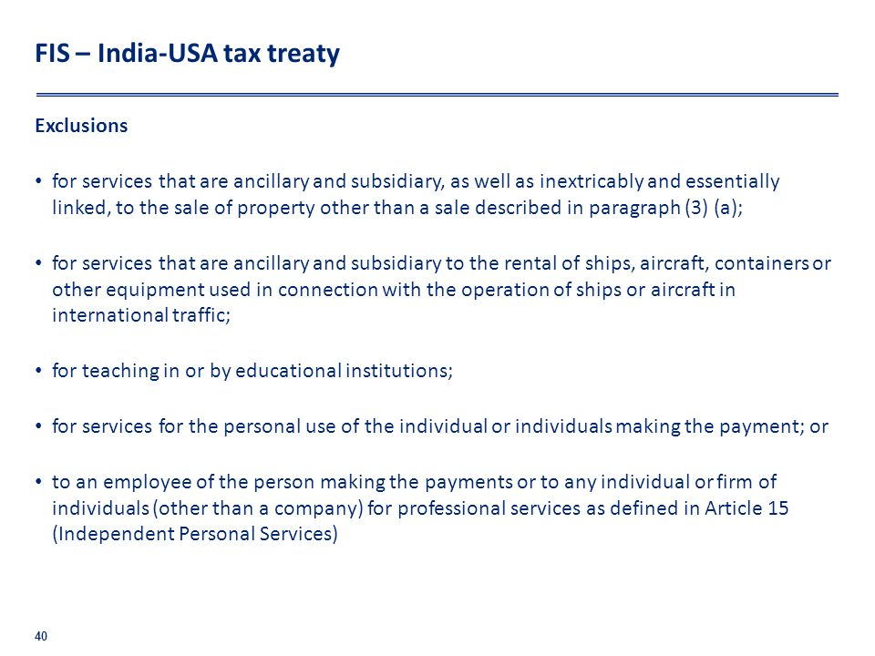 FIS – India-USA tax treaty