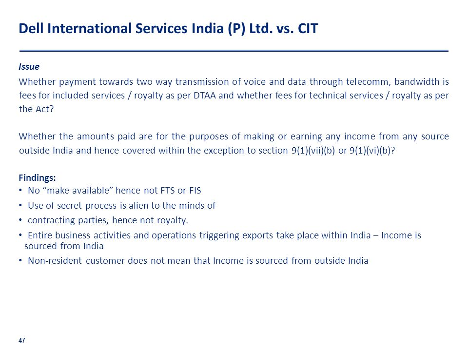 Dell International Services India (P) Ltd. vs. CIT
