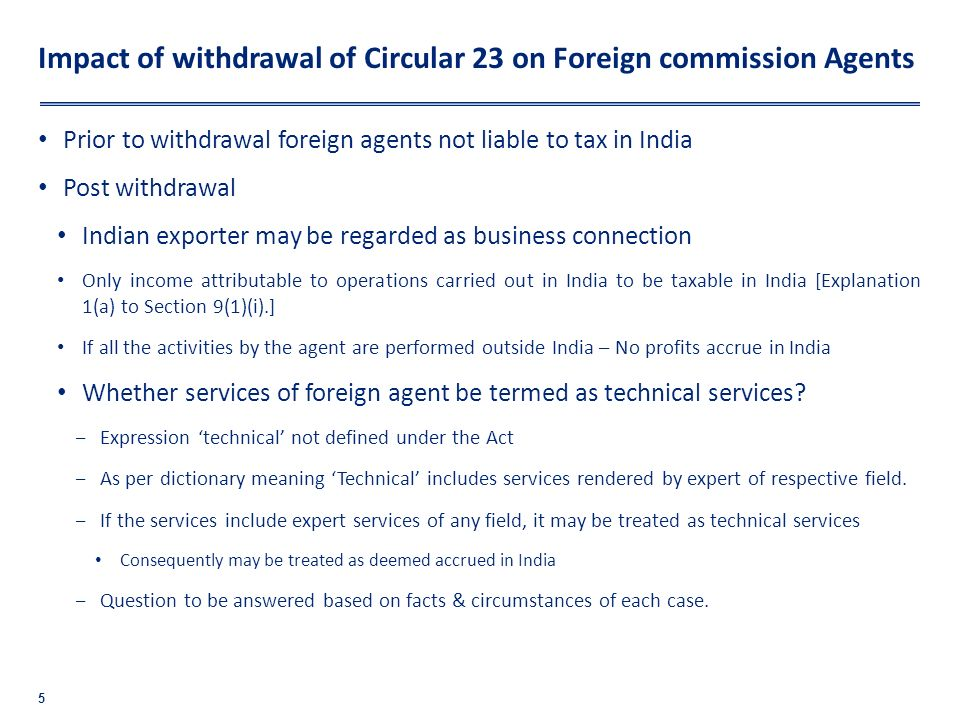 Impact of withdrawal of Circular 23 on Foreign commission Agents