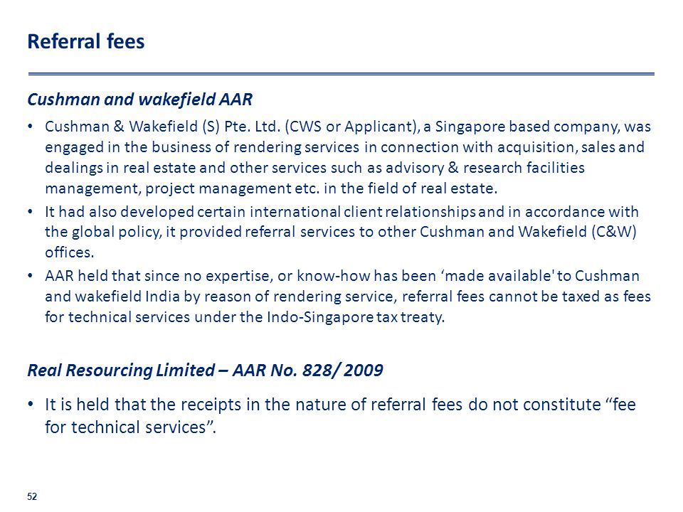 Referral fees Cushman and wakefield AAR