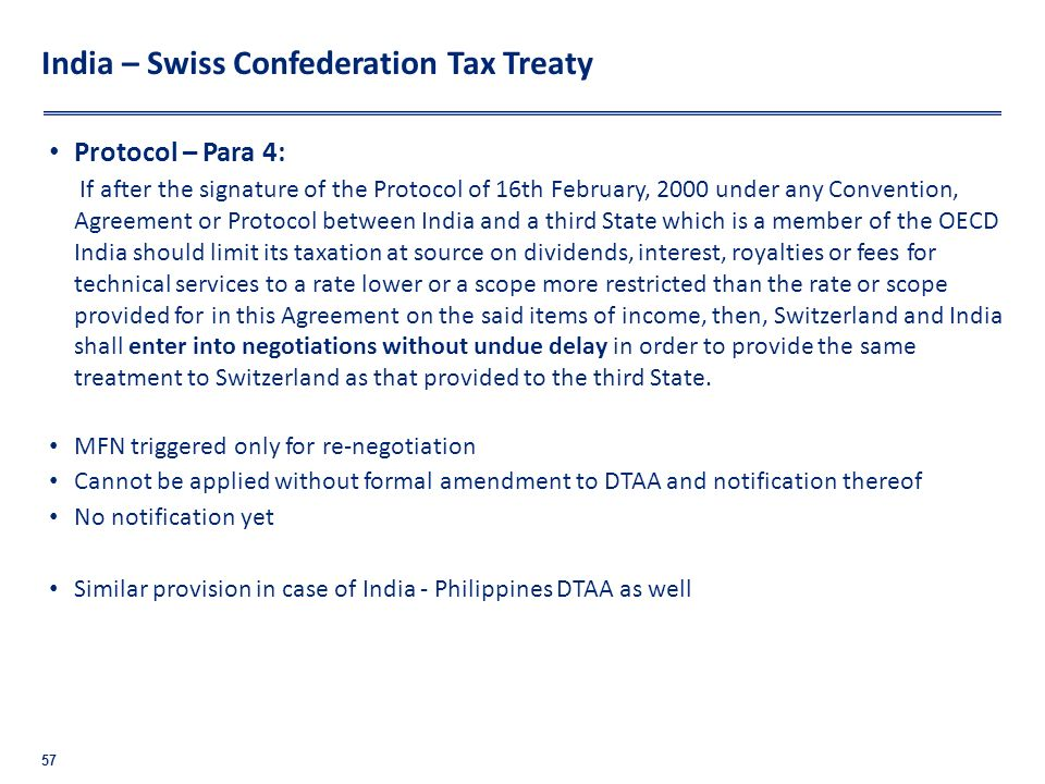 India – Swiss Confederation Tax Treaty