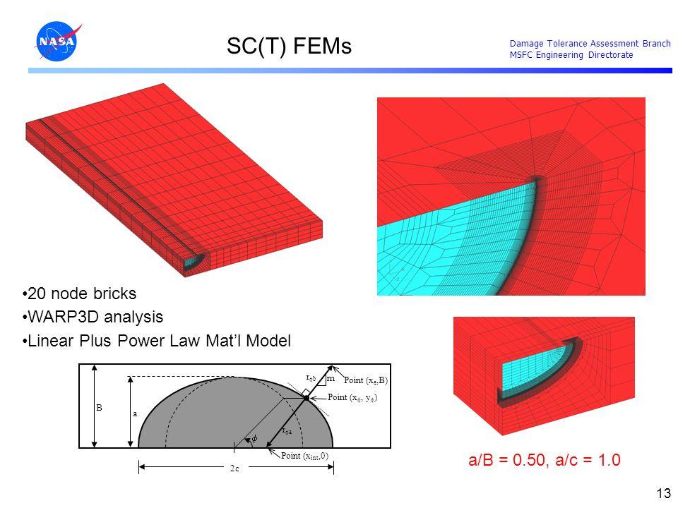 SC(T) FEMs 20 node bricks WARP3D analysis