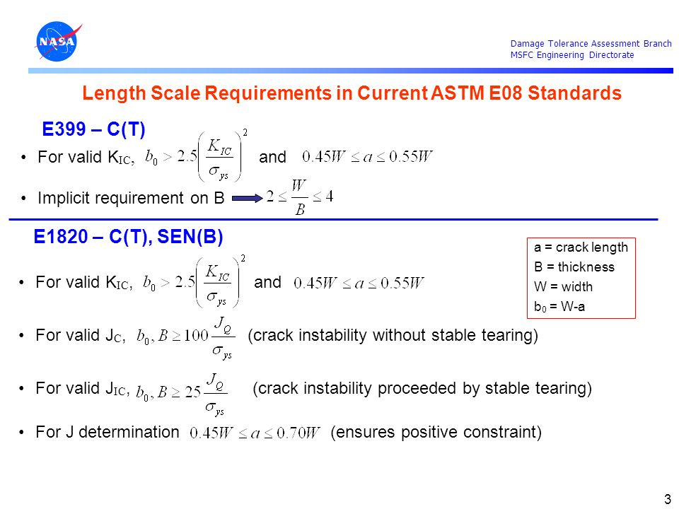 Length Scale Requirements in Current ASTM E08 Standards