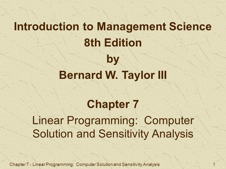 introduction to sensitivity analysis pdf
